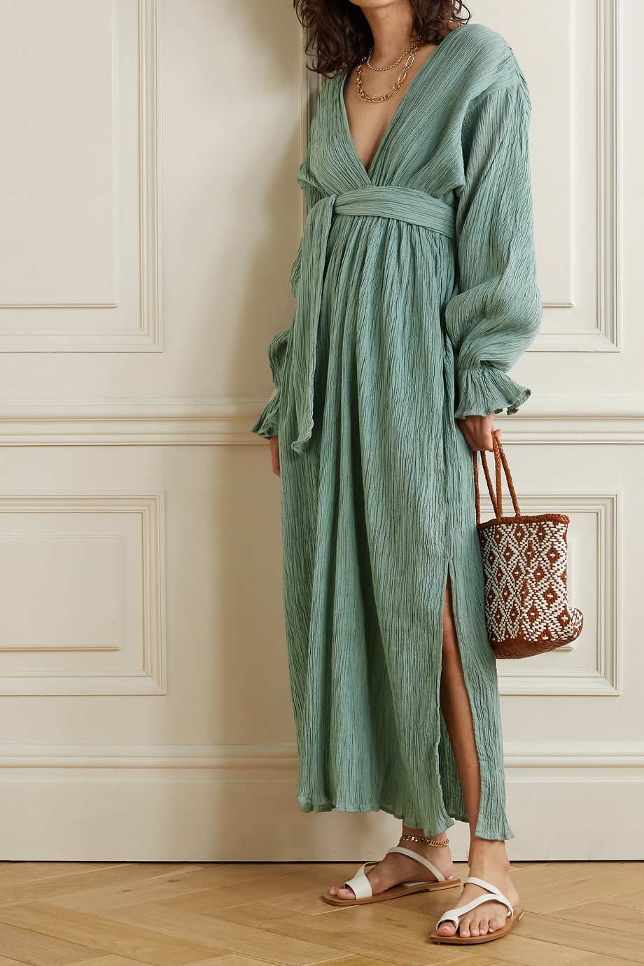 Savannah Morrow The Label + NET SUSTAIN Mahria belted crinkled organic cotton-gauze maxi dress