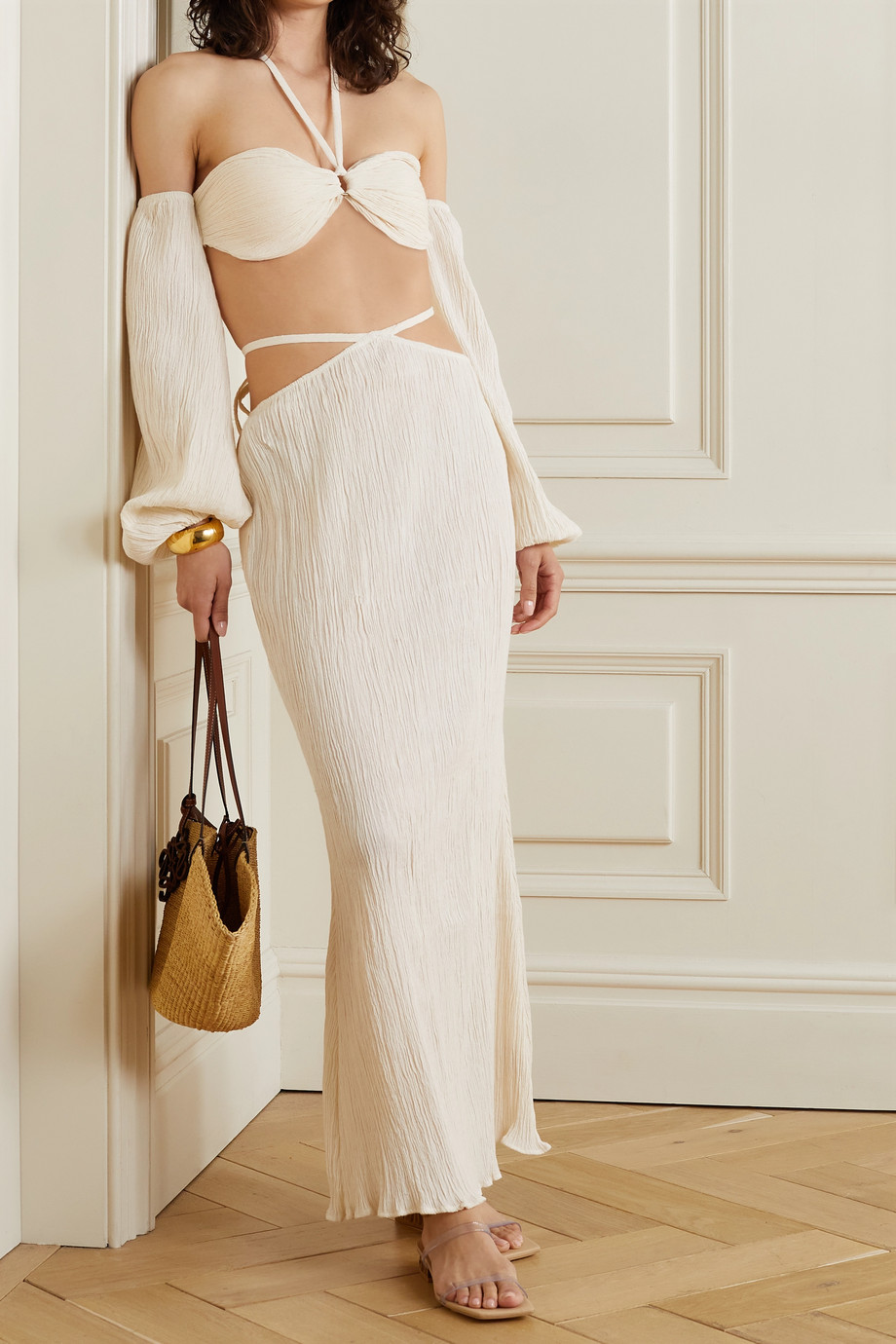 Savannah Morrow The Label + NET SUSTAIN Indra off-the-shoulder crinkled organic cotton-gauze top