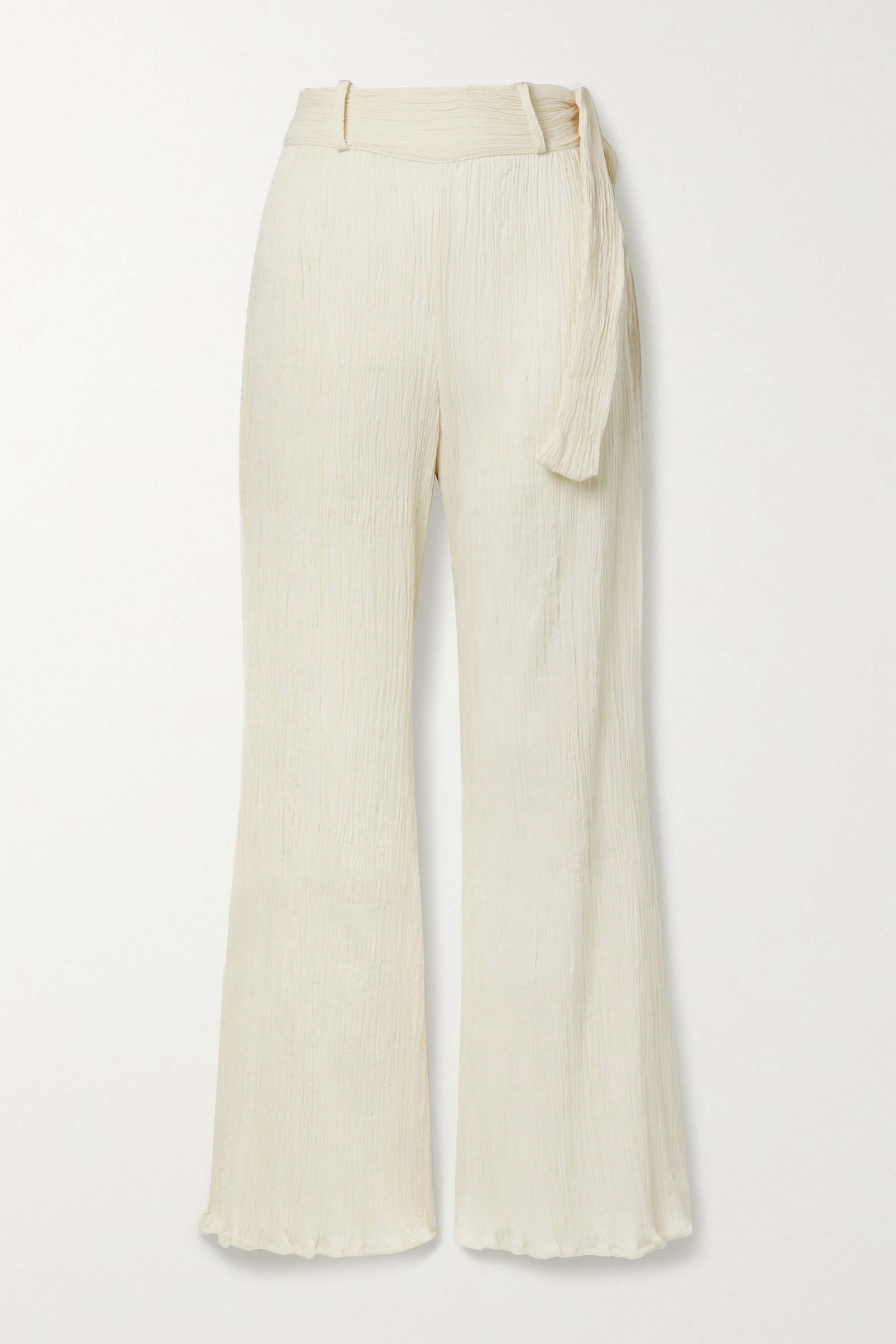 Savannah Morrow The Label + NET SUSTAIN Eve crinkled organic cotton-gauze flared pants