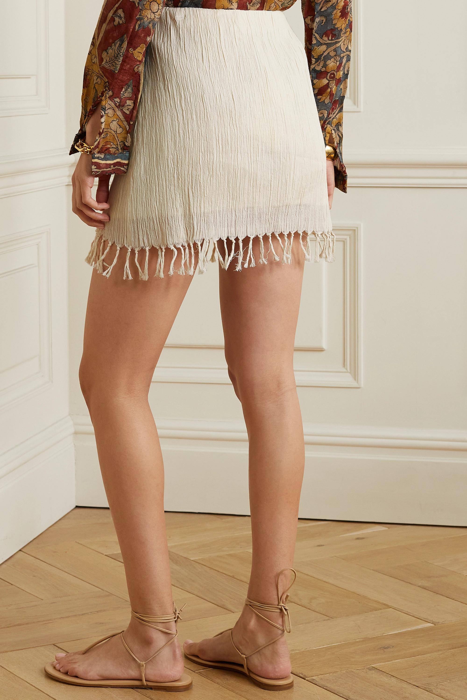 Savannah Morrow The Label + NET SUSTAIN Rena fringed crinkled organic cotton-gauze mini skirt