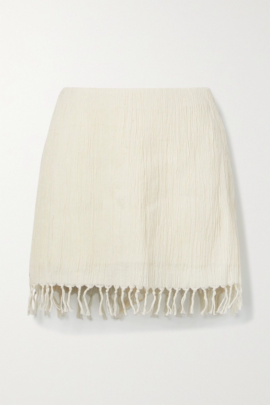 Savannah Morrow The Label + NET SUSTAIN Rena fringed crinkled organic cotton-gauze mini skirt