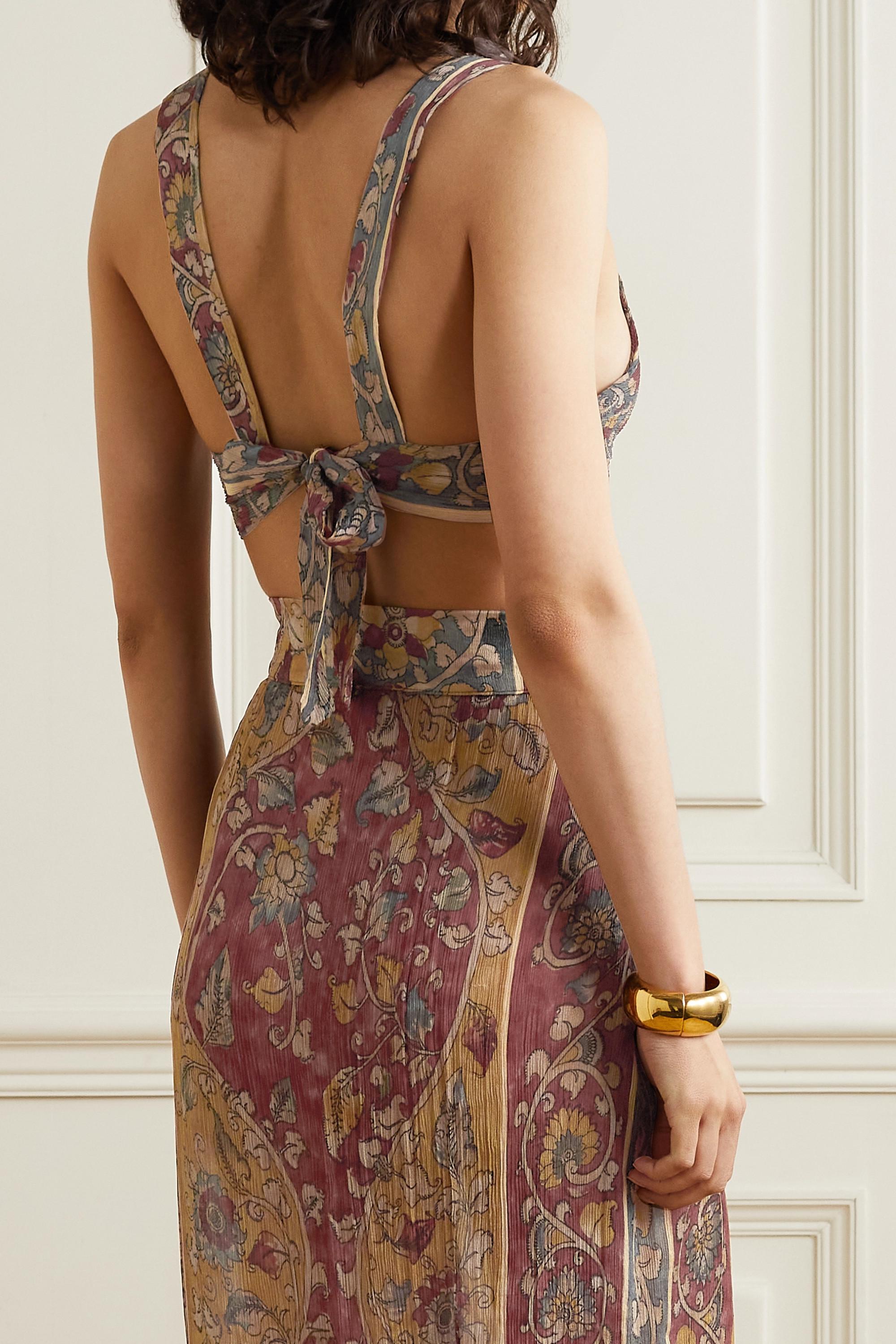 Savannah Morrow The Label + NET SUSTAIN Calla printed silk-crepon bralette