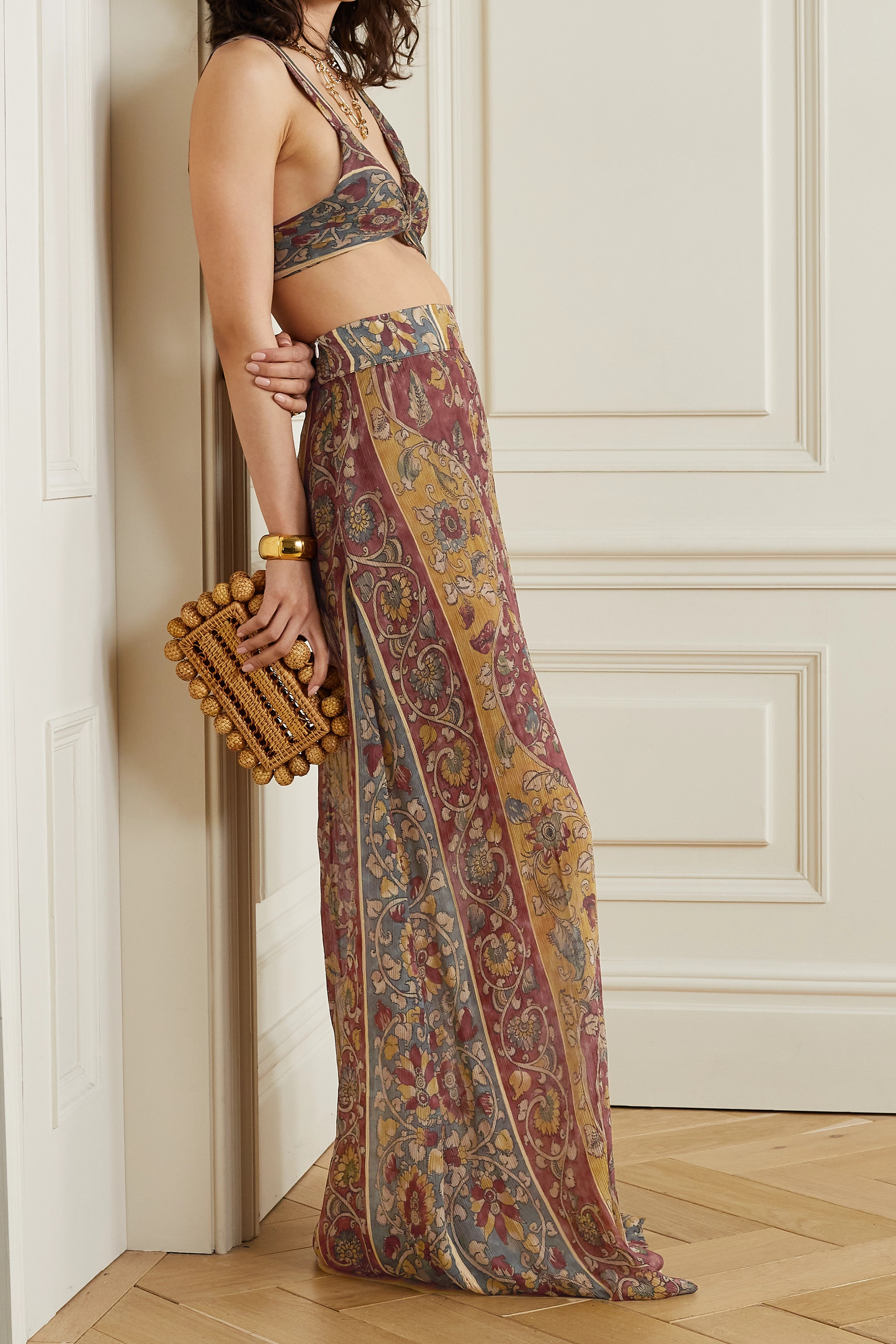 Savannah Morrow The Label + NET SUSTAIN Iris printed silk-crepon maxi skirt