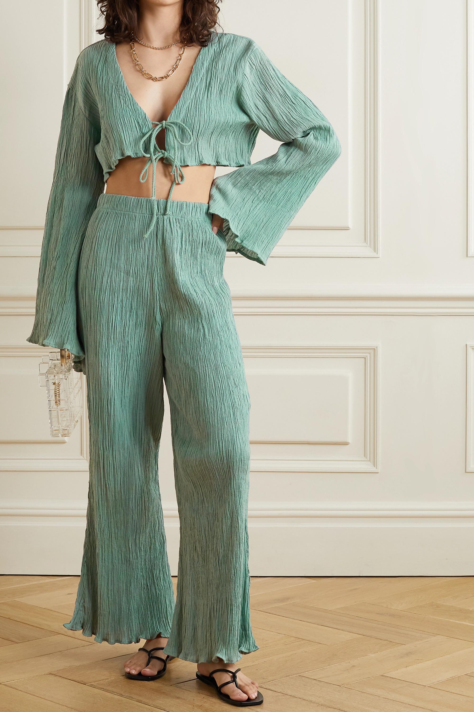 Savannah Morrow The Label + NET SUSTAIN Adira tie-front crinkled organic cotton-gauze top