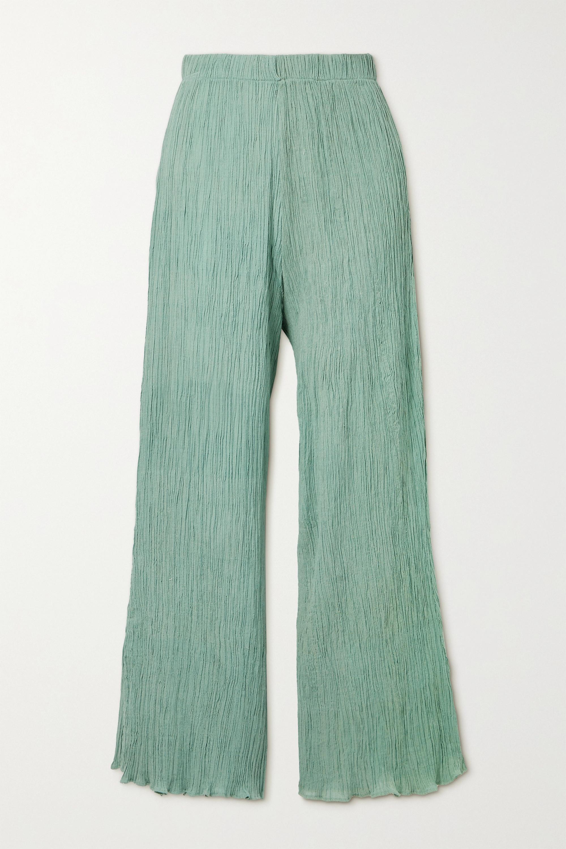 Savannah Morrow The Label + NET SUSTAIN June crinkled organic cotton-gauze pants