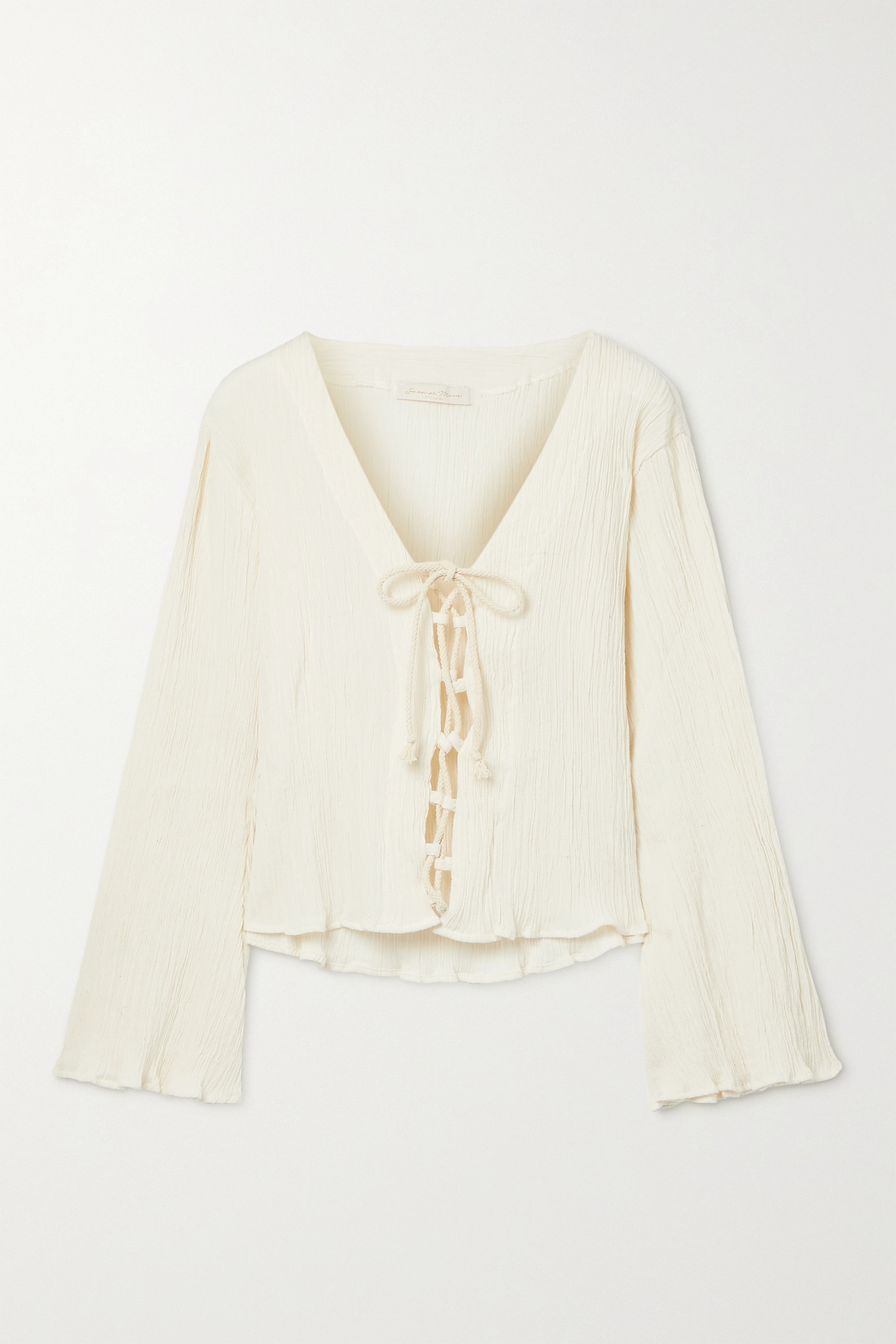 Savannah Morrow The Label + NET SUSTAIN Amey lace-up crinkled organic cotton-gauze top