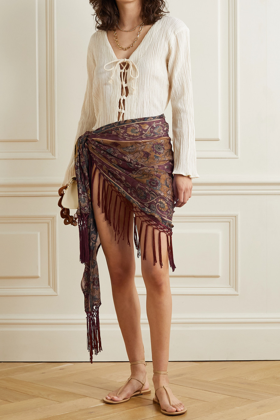 Savannah Morrow The Label + NET SUSTAIN Isla fringed printed silk-crepon wrap mini skirt