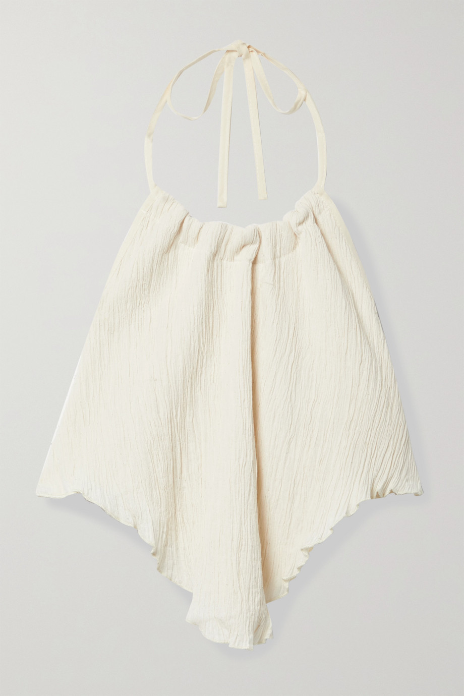 Savannah Morrow The Label + NET SUSTAIN The Jaya crinkled organic cotton-gauze halterneck top