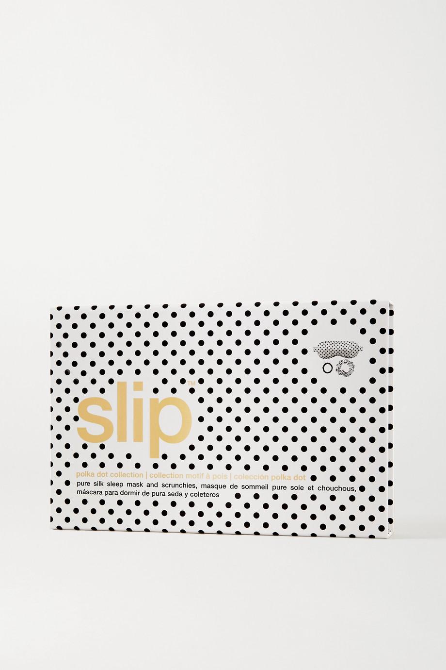 Slip Set aus Schlafmaske und Haargummis aus Maulbeerseide mit Punkten