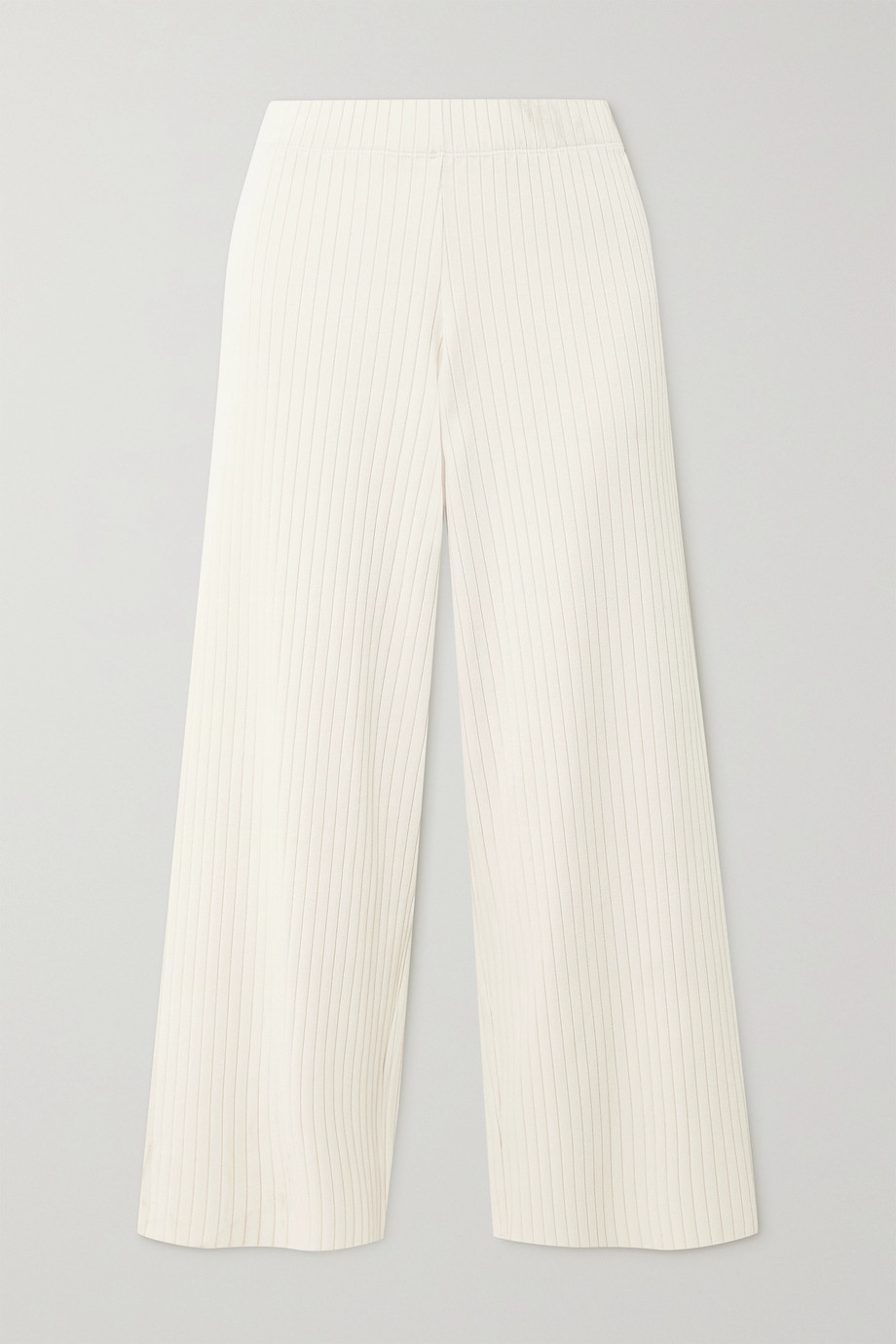 Vince Cropped ribbed-knit wide-leg pants