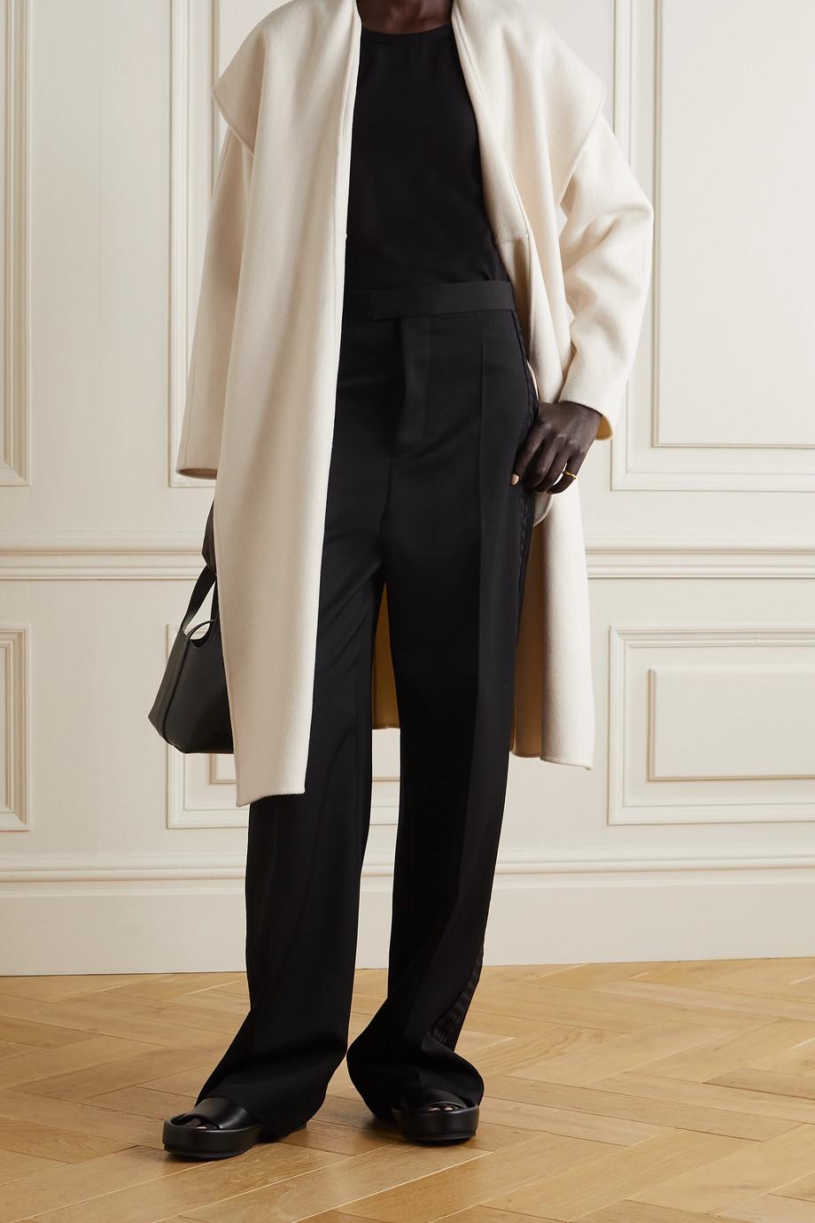 Vince Manteau à capuche en laine vierge et cachemire mélangés à ceinture