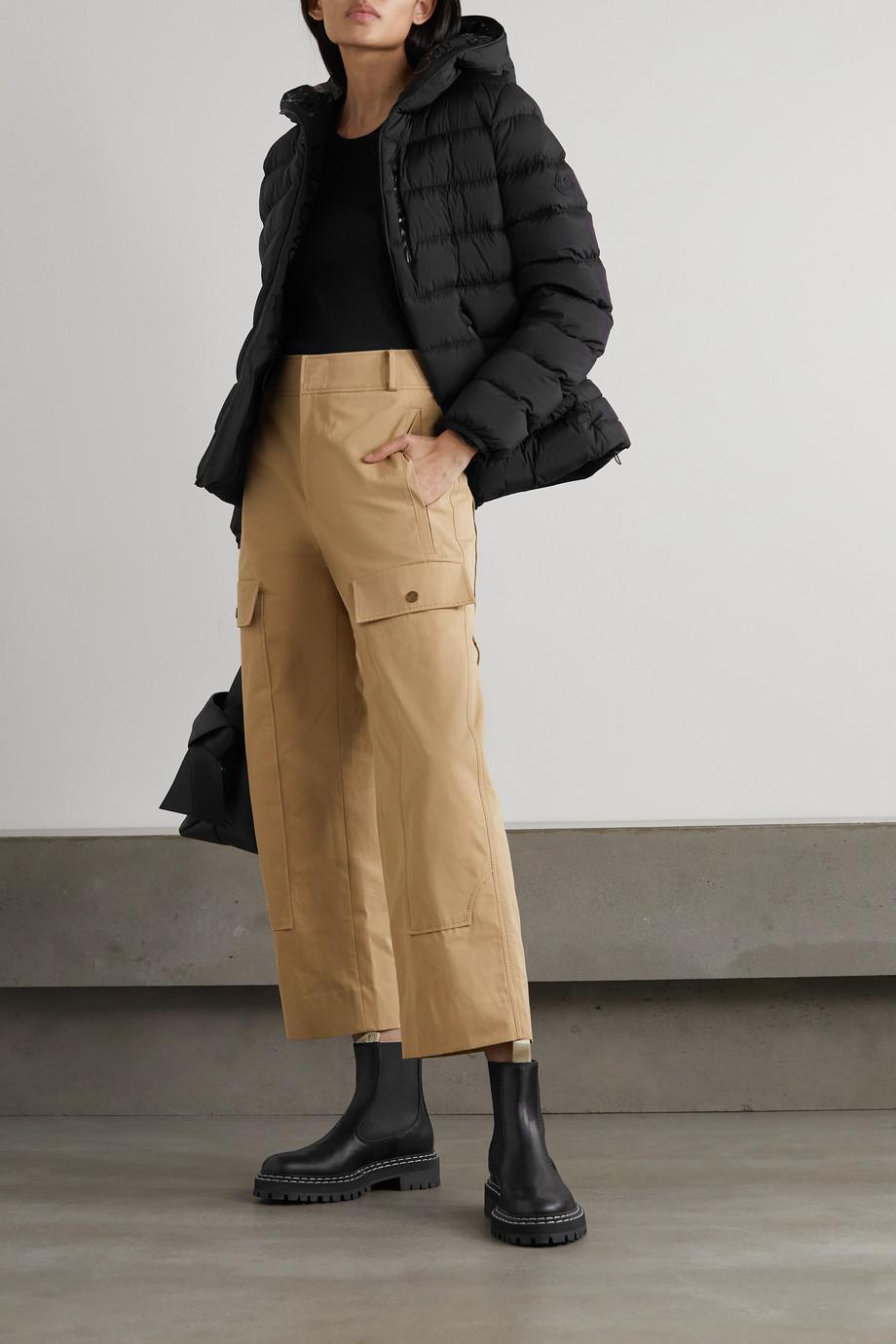 Moncler Doudoune à capuche en tissu technique et duvet Herbe