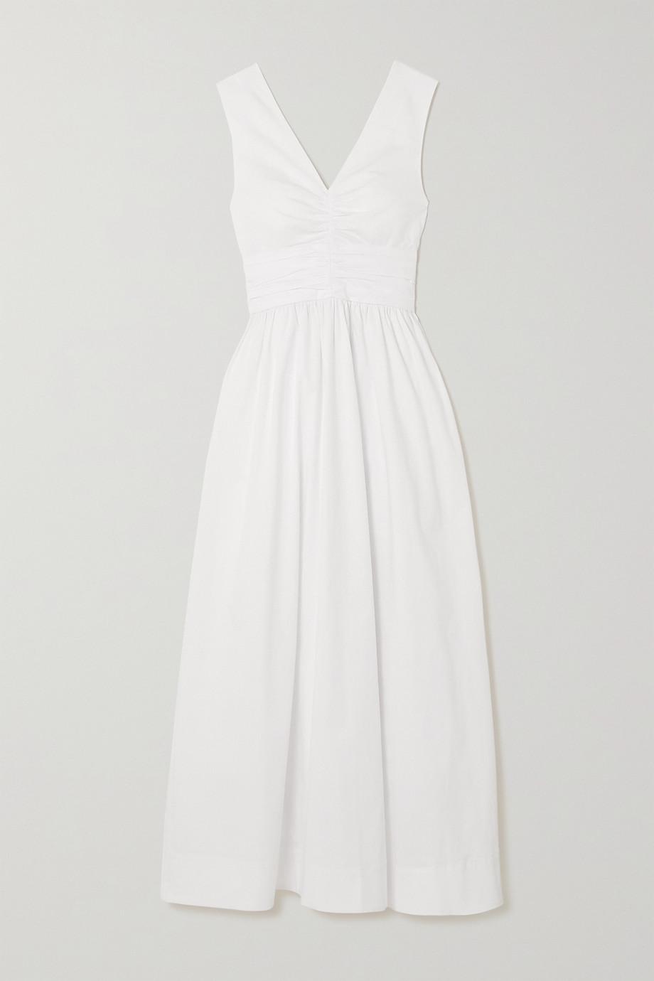 STAUD Gloria gathered stretch-cotton poplin maxi dress