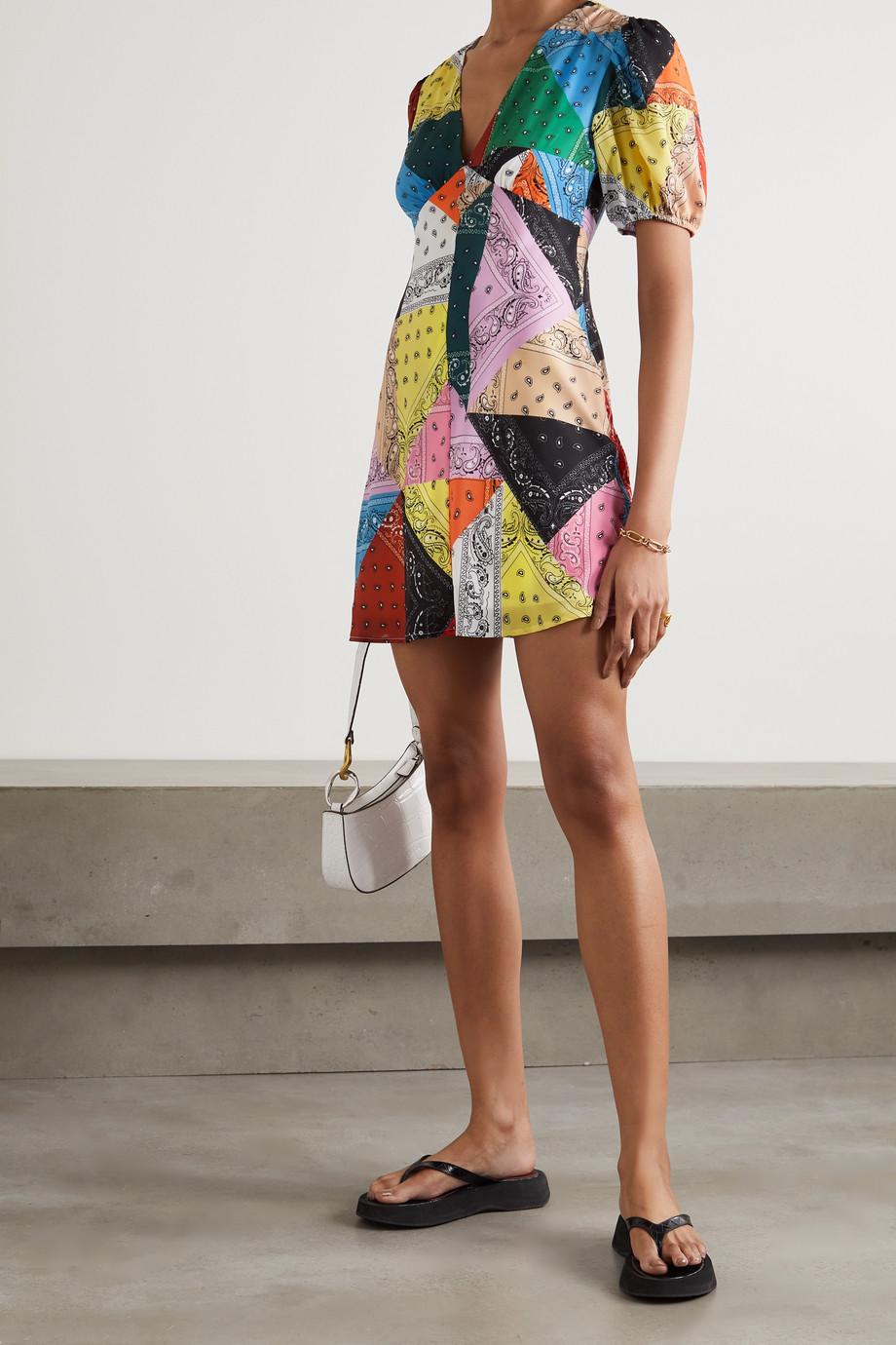 STAUD Mini-robe façon patchwork en crêpe à imprimé bandana Milla