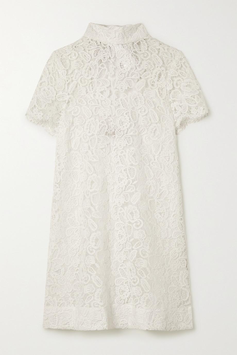 STAUD Doris tie-back corded lace mini dress