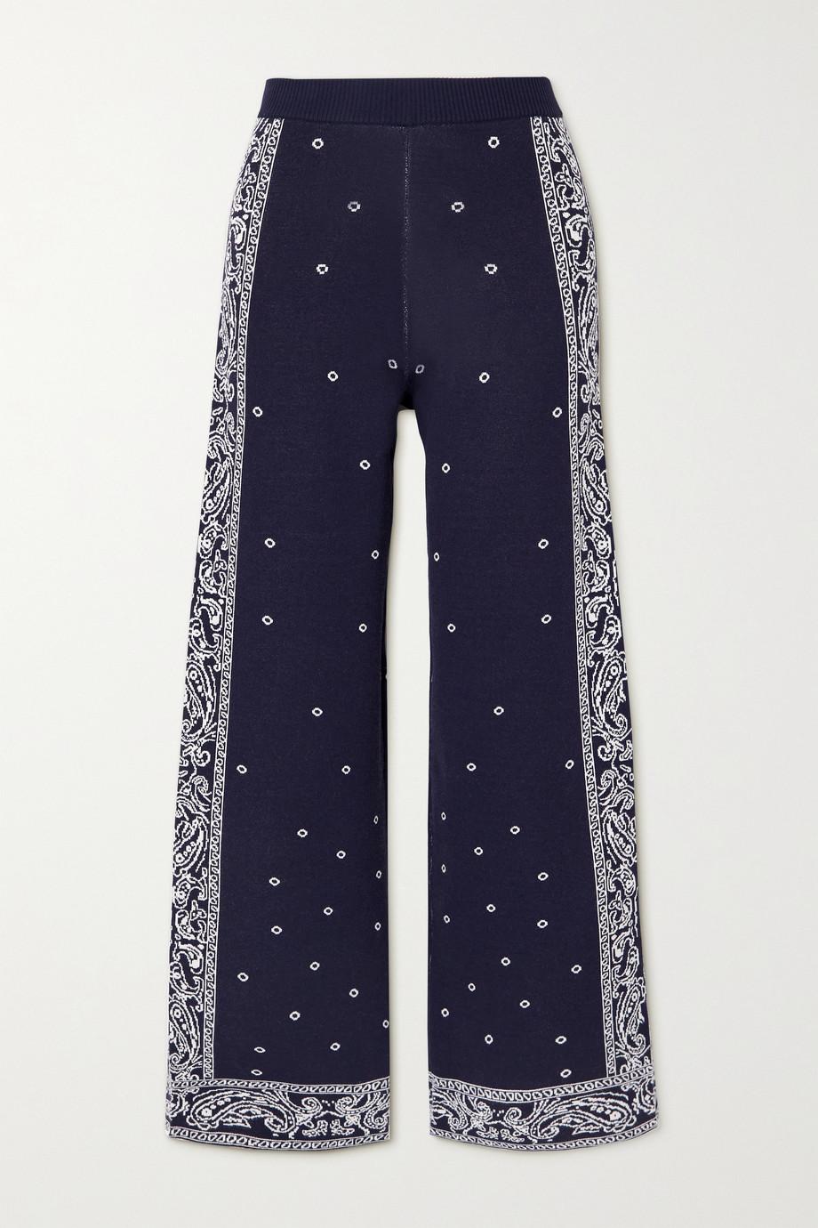 STAUD Bravo intarsia-knit wide-leg pants