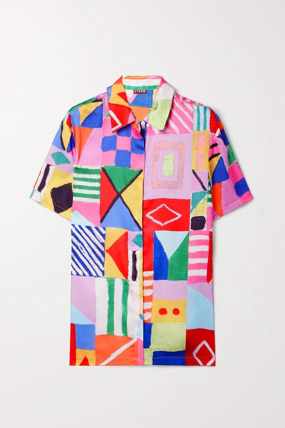 STAUD Pallas oversized printed twill shirt