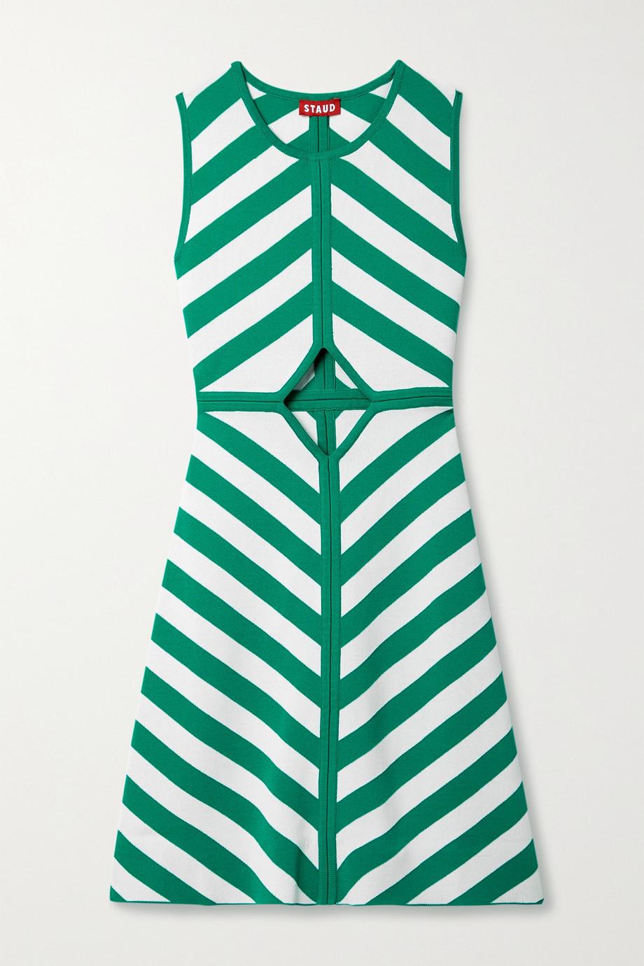 STAUD Bondi Minikleid aus Stretch-Strick mit Cut-out und Streifen