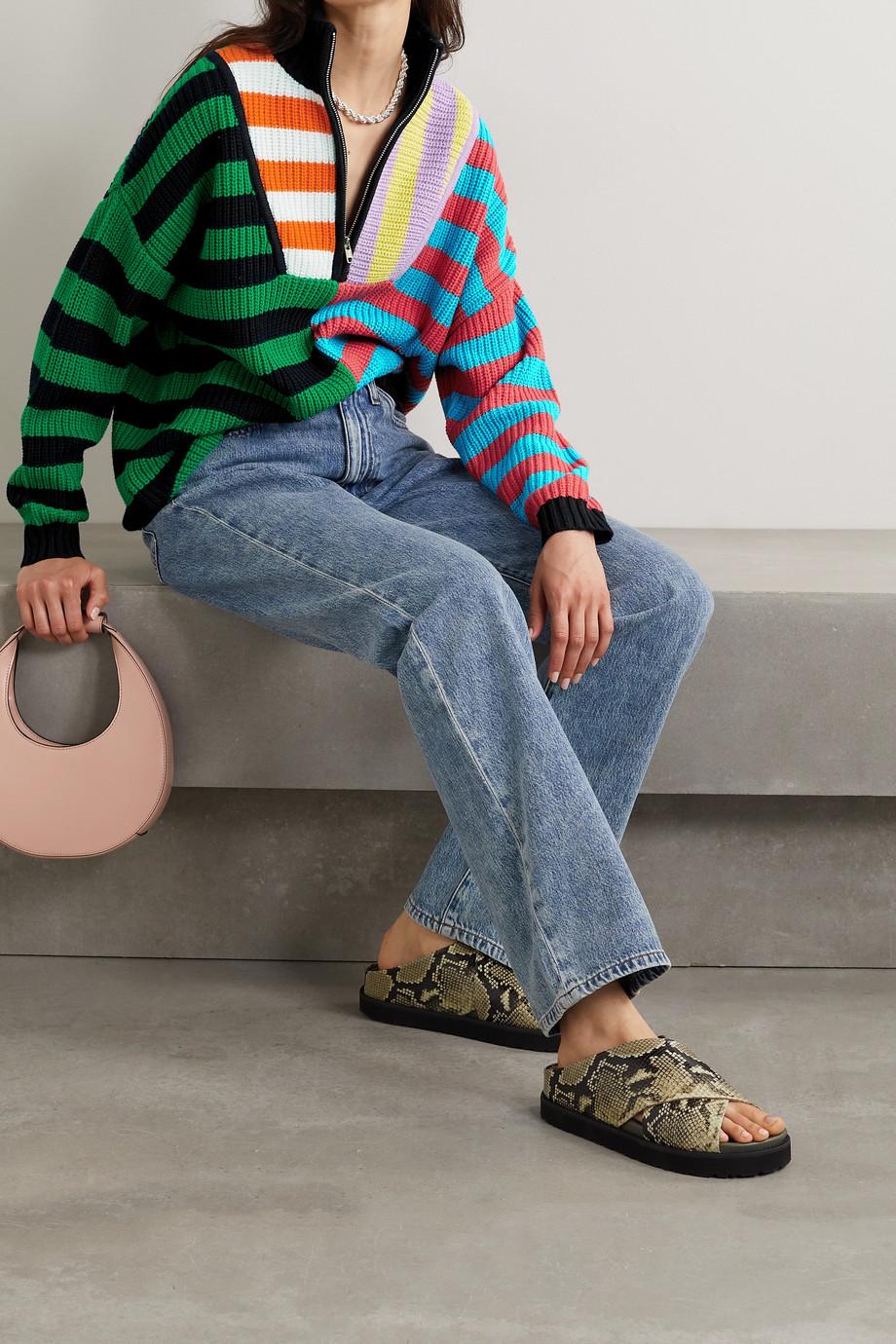 STAUD Hampton Rippstrickpullover aus einer Baumwollmischung mit Streifen