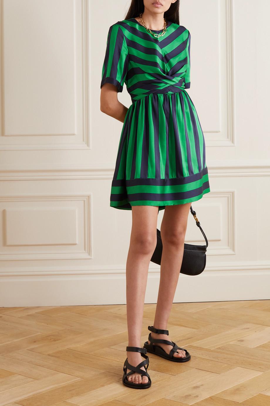 STAUD York cutout striped satin mini dress