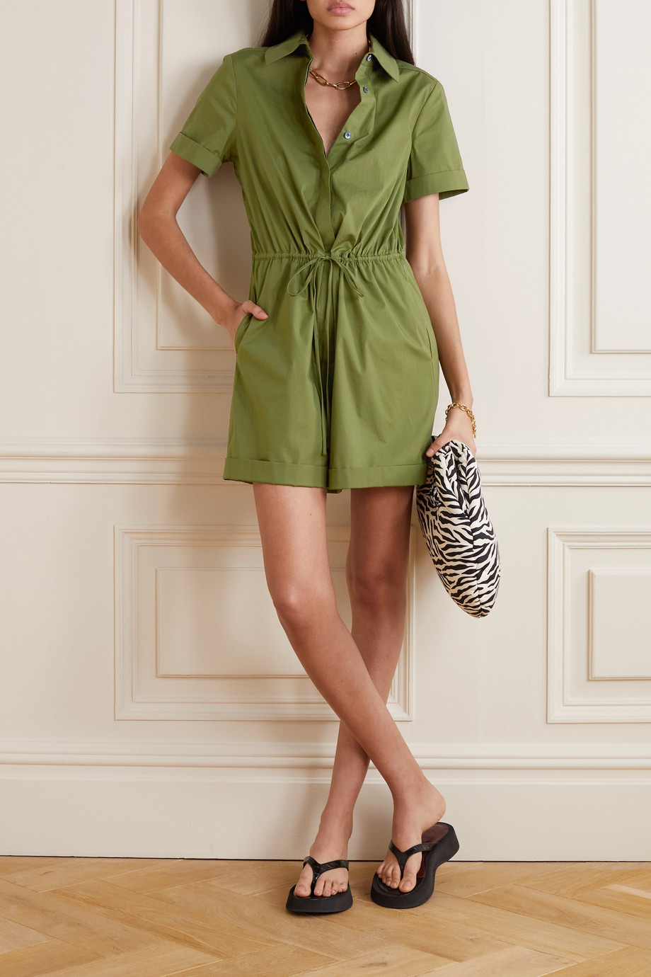 STAUD Ludo belted stretch-cotton playsuit