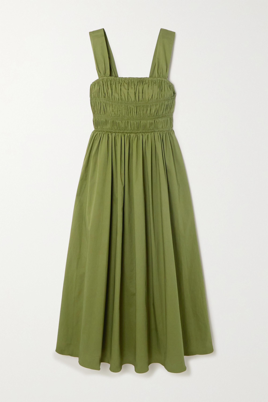 STAUD Ida ruched stretch-cotton poplin midi dress