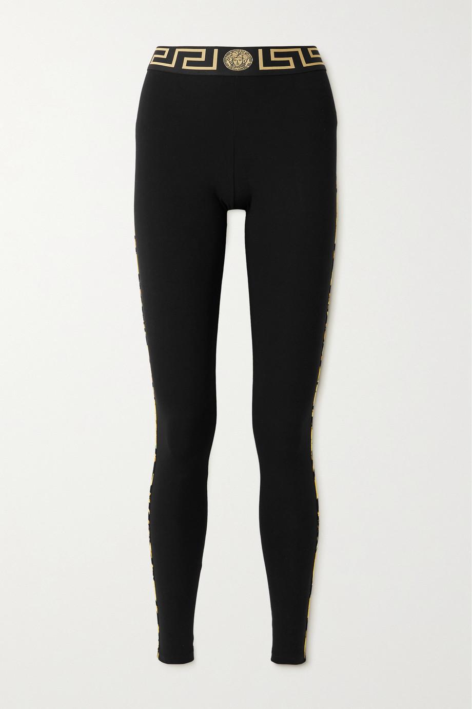 Versace Leggings aus Stretch-Baumwoll-Jersey mit Streifen