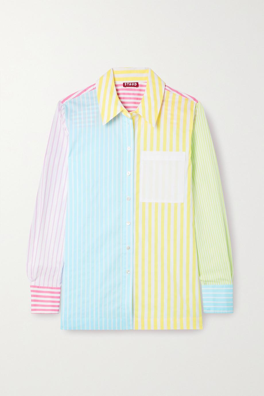 STAUD Martha striped cotton-blend poplin shirt