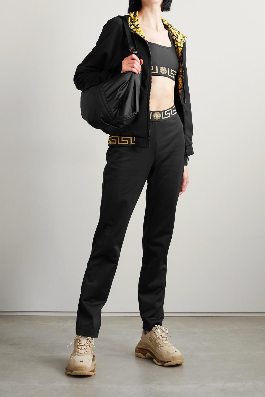 Versace Kapuzenjacke aus technischen Jersey mit Besätzen aus Jacquard