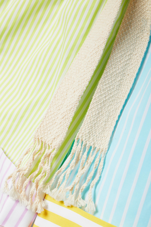STAUD Aft striped cotton-blend poplin shorts