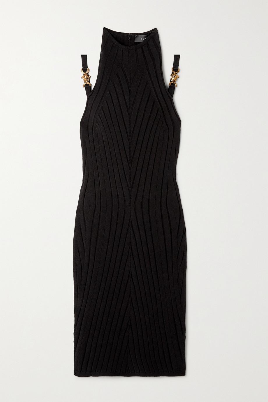Versace Minikleid aus Rippstrick mit Verzierungen