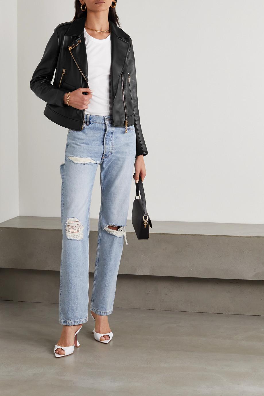 Versace Bikerjacke aus Leder mit Verzierungen