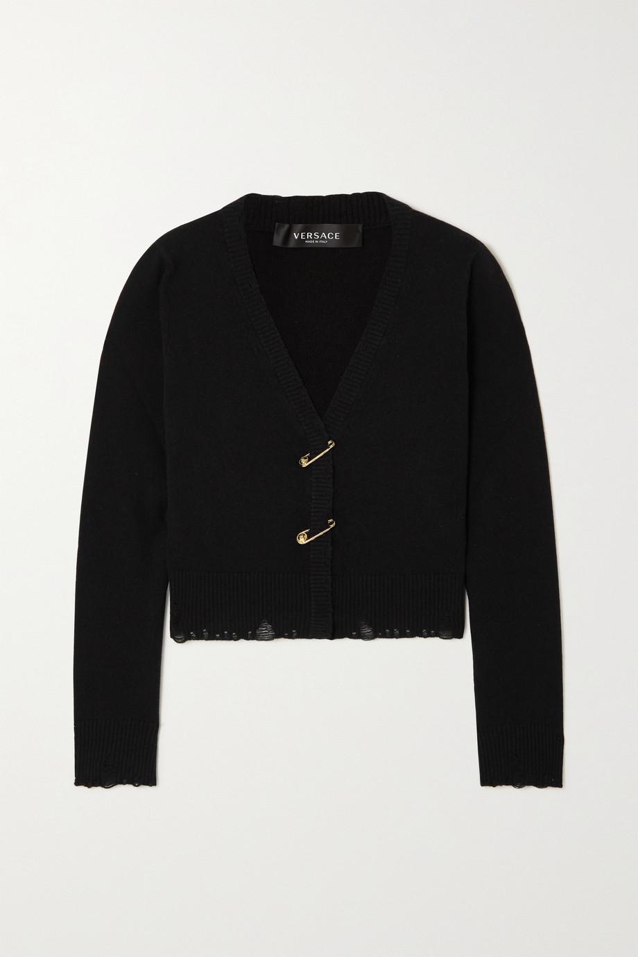 Versace Cardigan aus einer Kaschmir-Wollmischung mit Verzierungen und Distressed-Details