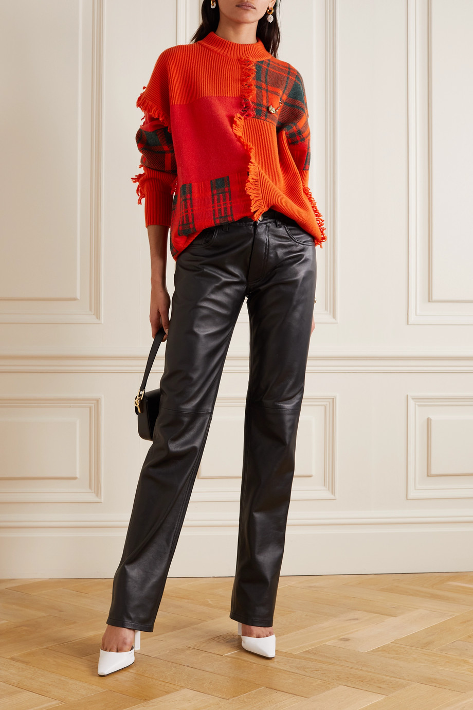 Versace Embellished fringed patchwork wool sweater
