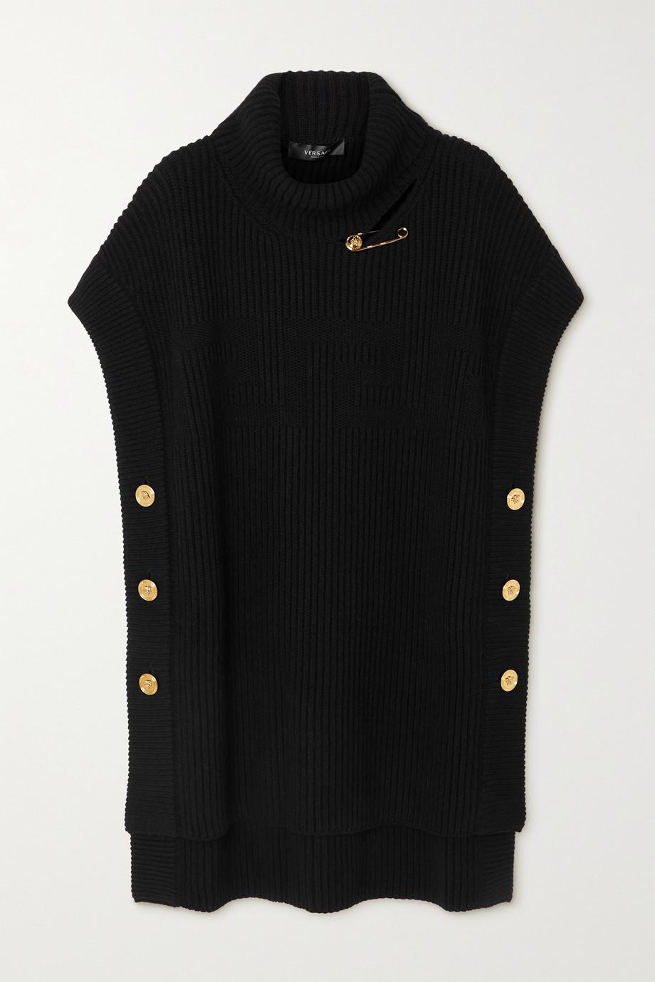 Versace Rollkragenoberteil aus gerippter Wolle mit Verzierungen