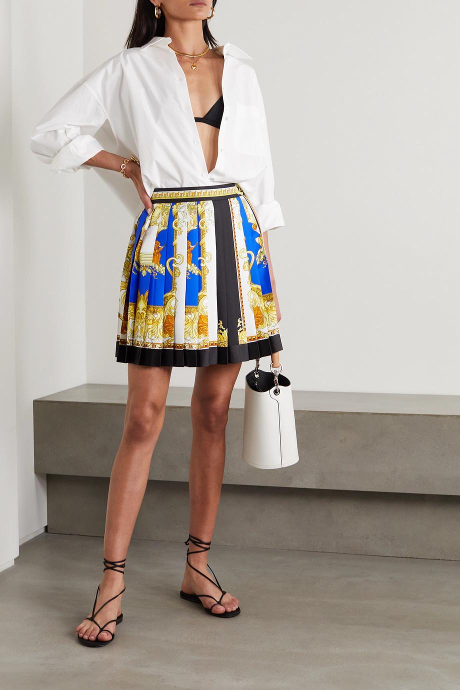 Versace Minirock aus bedrucktem Seiden-Twill mit Plissee