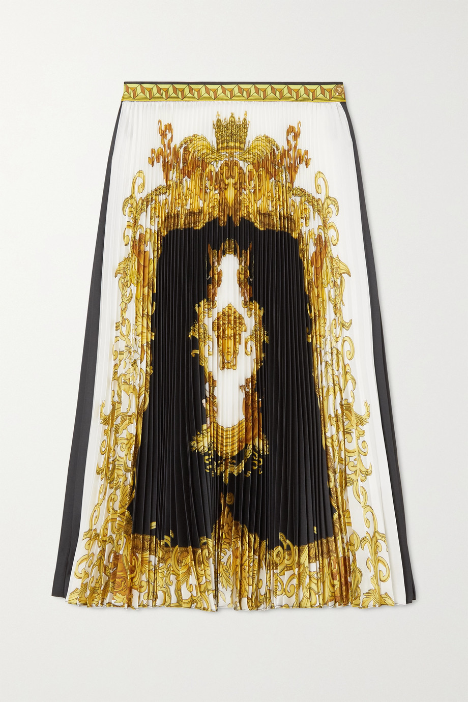 Versace Bedruckter Midirock aus plissierter Seide