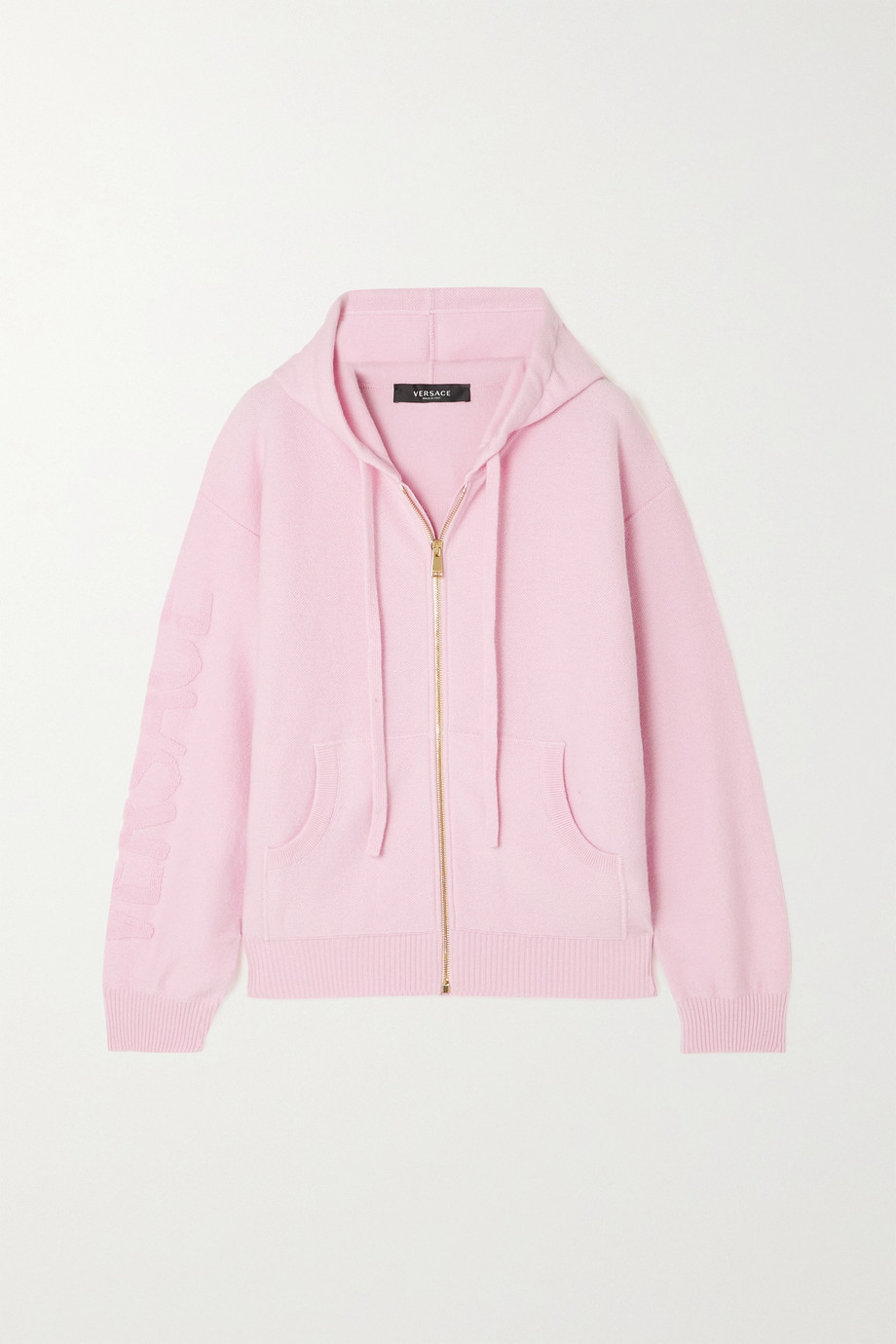 Versace Appliquéd wool and cashmere-blend terry hoodie