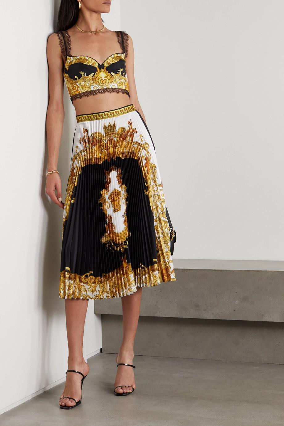 Versace Bustier aus bedrucktem Seiden-Twill mit Spitzenbesätzen