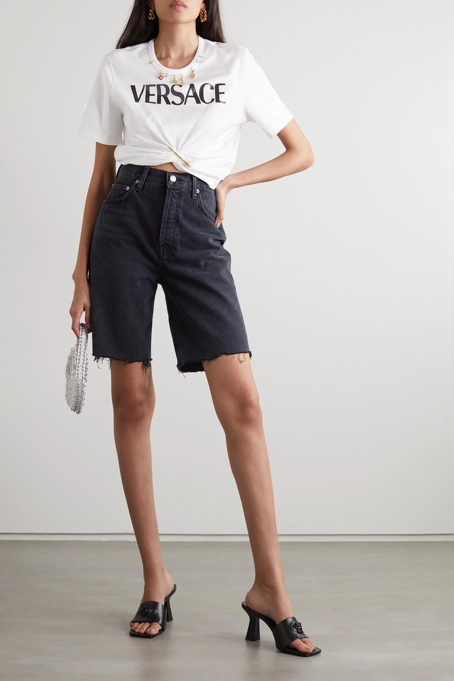 Versace T-Shirt aus Baumwoll-Jersey mit Print und Verzierungen