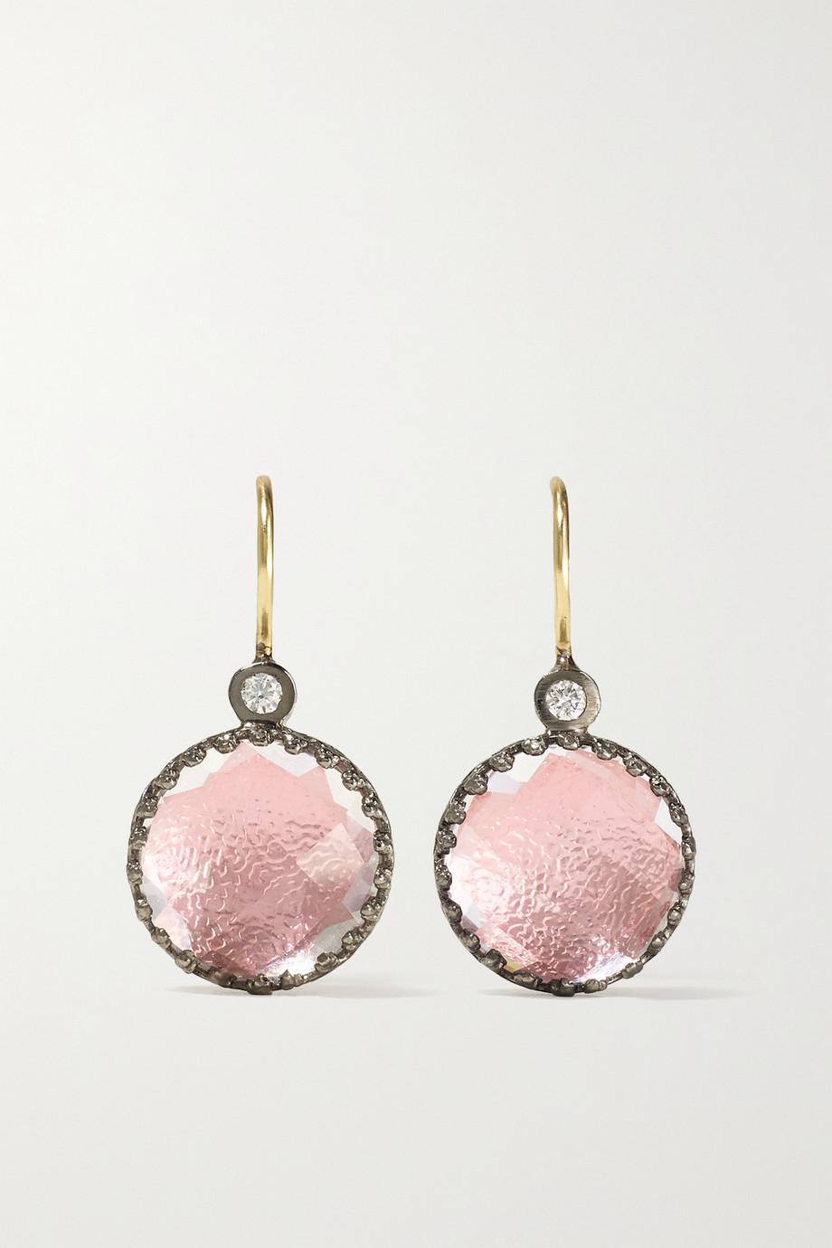 Larkspur & Hawk Olivia Button rhodium-dipped quartz and diamond earrings