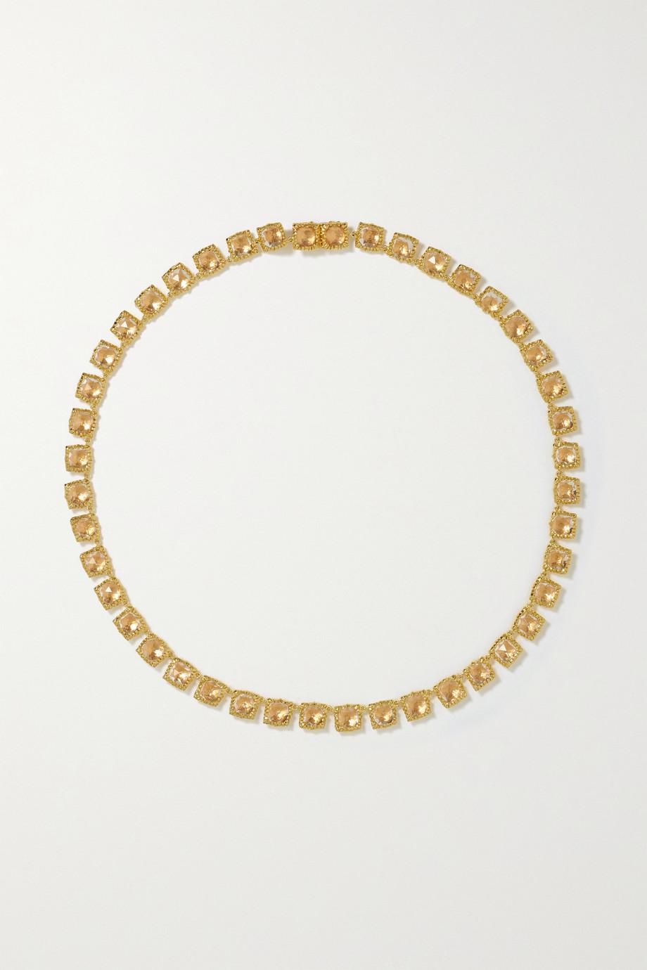 Larkspur & Hawk Bella Mini Rivière 18-karat gold-dipped quartz necklace