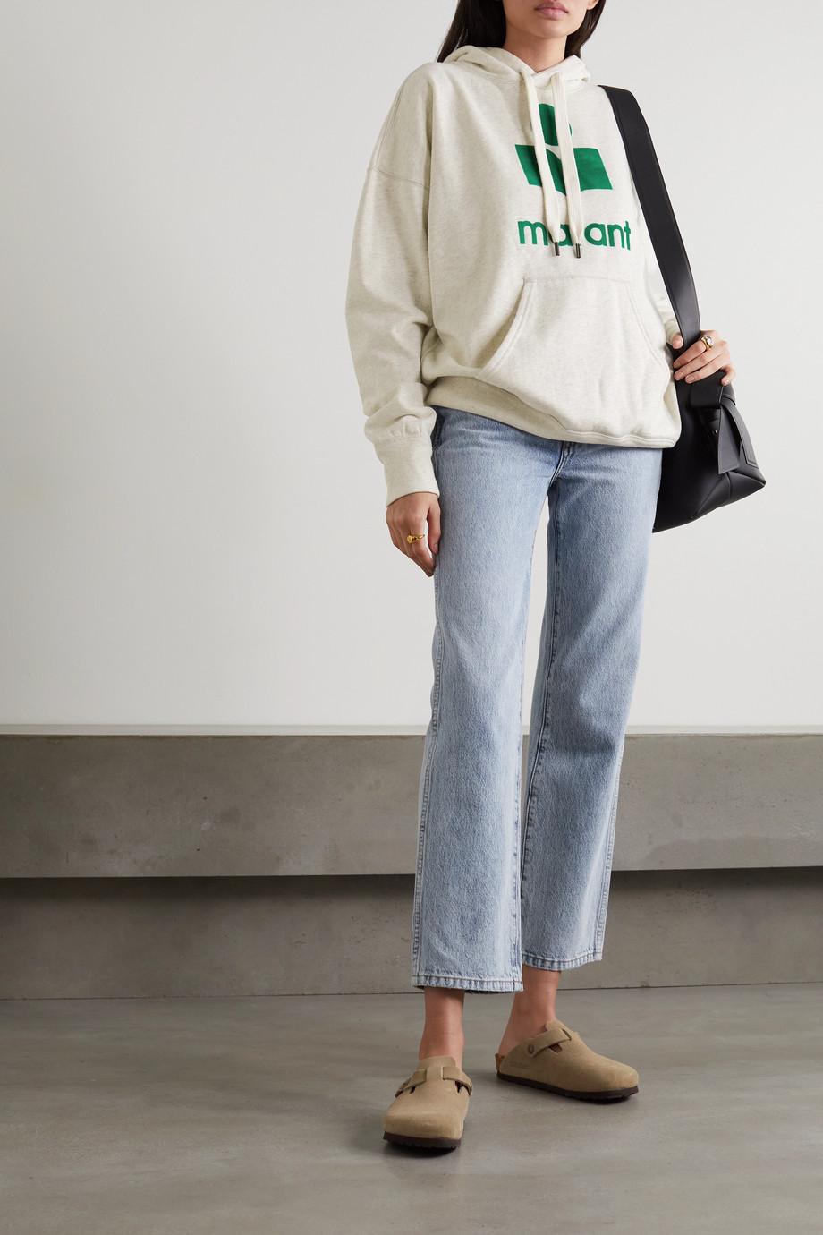 Isabel Marant Étoile Mansel flocked cotton-blend jersey hoodie