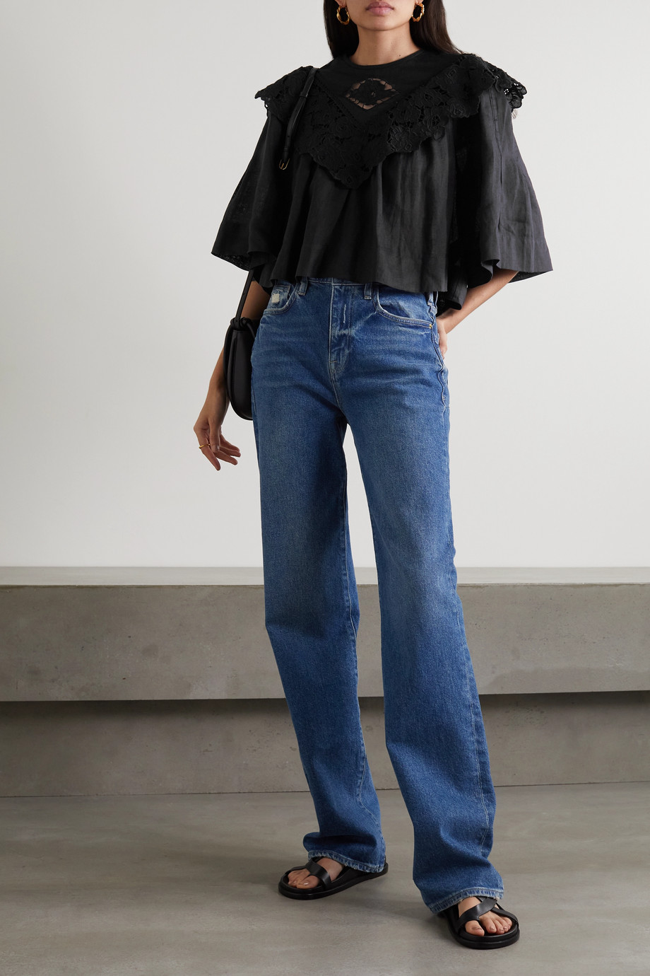 Isabel Marant Étoile Ezalio cropped  pleated broderie anglaise linen blouse