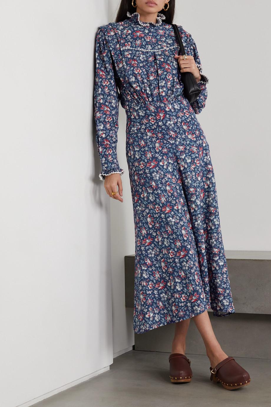 Isabel Marant Étoile Darcy Midikleid aus Baumwollpopeline mit Blumenprint und Spitzenbesätzen