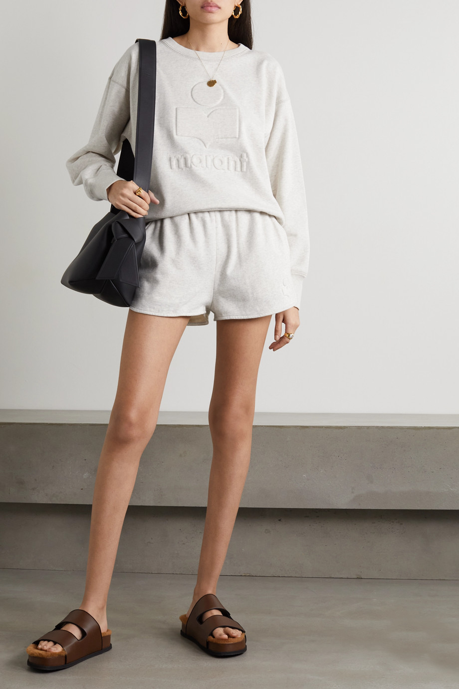 Isabel Marant Étoile Mobyli Sweatshirt aus Jersey aus einer Baumwollmischung mit Prägung