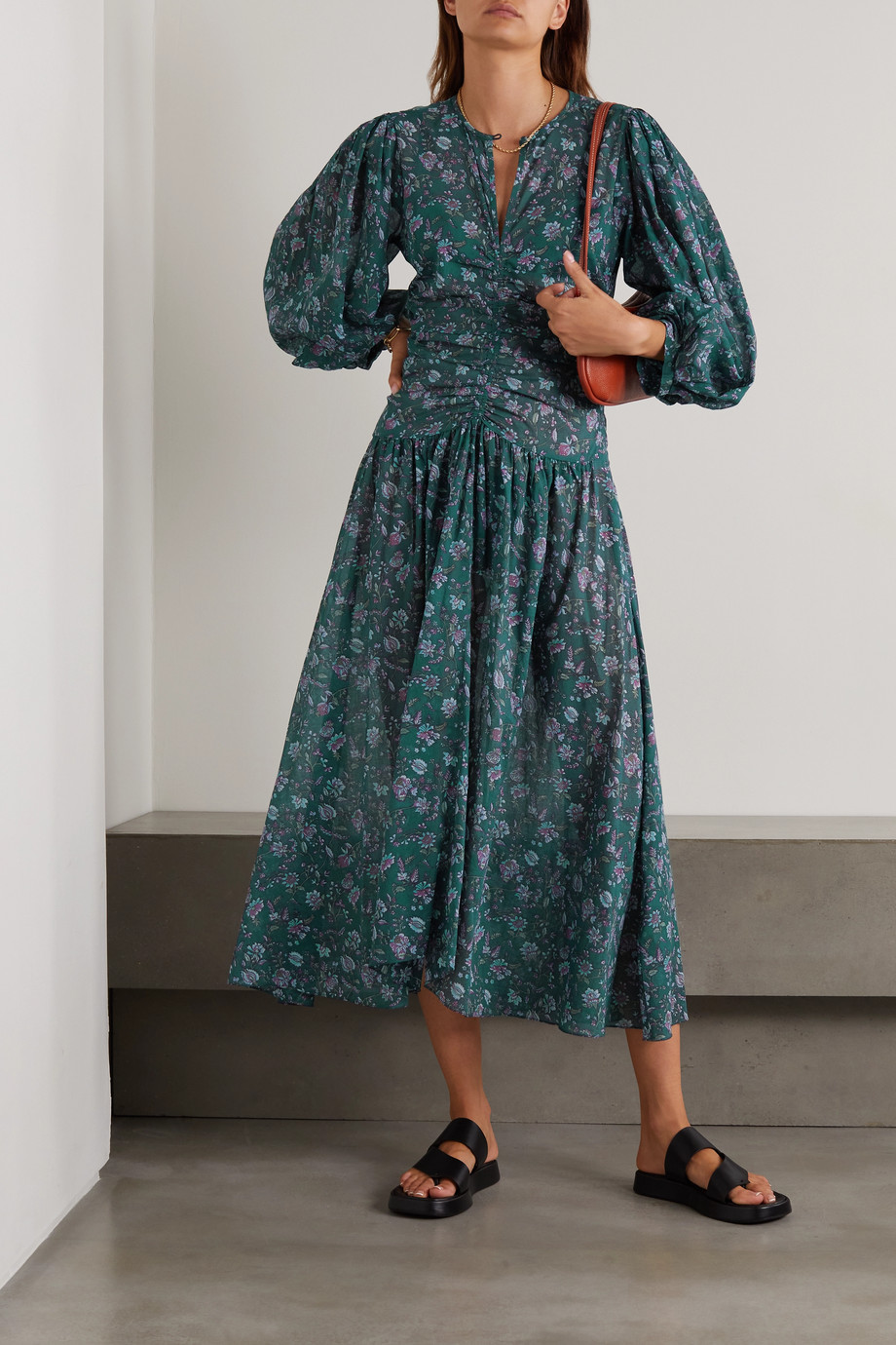 Isabel Marant Étoile Mariana Midikleid aus Baumwoll-Voile mit Blumenprint und Raffungen