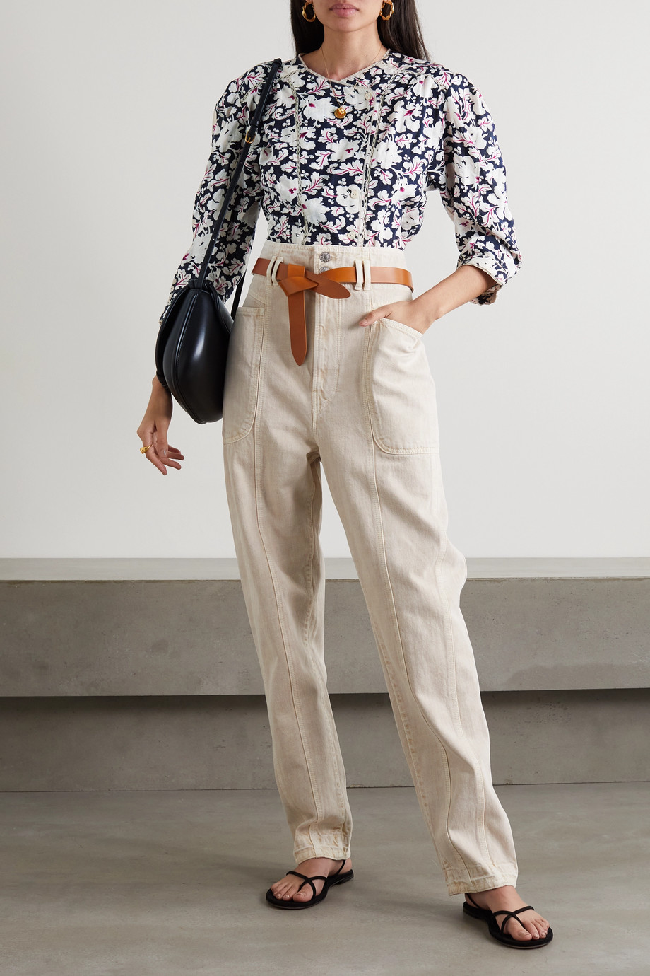 Isabel Marant Étoile Ditta lace-trimmed floral-print cotton blouse
