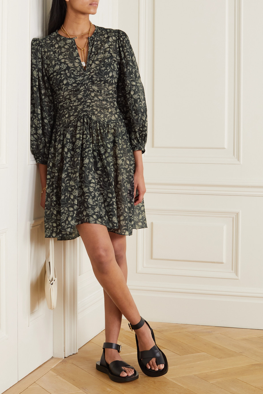 Isabel Marant Étoile Marili gathered floral-print cotton-voile mini dress