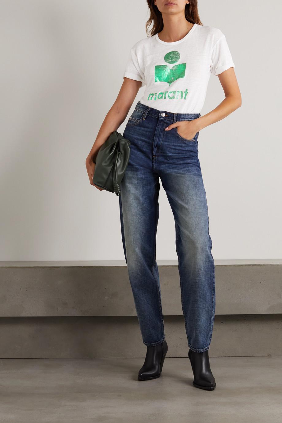 Isabel Marant Étoile Koldi metallic printed slub linen-jersey T-shirt